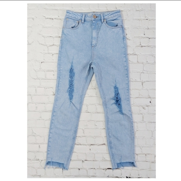 ASOS High Waisted Light Blue Distressed Jeans